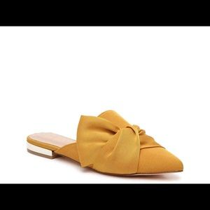 Aldo mules - yellow w/ gold trim